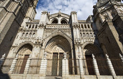Cathedral of Toledo. Main facade of the Cathedral of Toledo, Spain. The main door at the center is called Portal of Forgiveness Stock Images