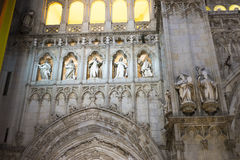 Cathedral of toledo at night, beautiful building with big doors Royalty Free Stock Photo