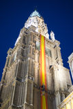 Cathedral of toledo at night, beautiful building with big doors Stock Image