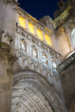 Cathedral of toledo at night, beautiful building with big doors Royalty Free Stock Image