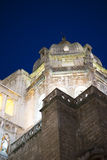Cathedral of toledo at night, beautiful building with big doors Royalty Free Stock Photos