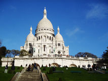 Cathedral with tourists in France, Paris, Europe Stock Images