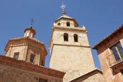 Cathedral tower and ancient buildings in Albarracin. Spain Royalty Free Stock Photography