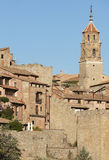 Cathedral tower and ancient houses in Albarracin. Spain Royalty Free Stock Image