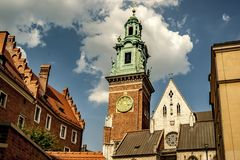 Cathedral tower. Architecture detail in Cracow, Poland Royalty Free Stock Photo