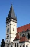 Cathedral tower with hours. Basil St. Egidiya's  in the city of Bardejov in Slovakia Stock Photography