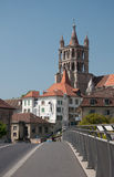 Cathedral tower in Lausanne. View of the cathedral tower from the bridge in Lausanne. Switzerland Royalty Free Stock Photography