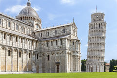 Cathedral and tower of pisa. Torre pendente. Piazza dei Miracoli complex with baptistery, cathedral and tower of Pisa, Italy Stock Images