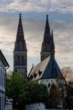Cathedral and towers. An old renaissance church or cathedral with tall spires or bell towers Stock Photos