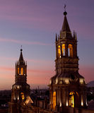Cathedral Towers. The towers of the Cathedral in Arequipa Peru Royalty Free Stock Image