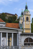 Cathedral towers and castle in Ljubljana Royalty Free Stock Images