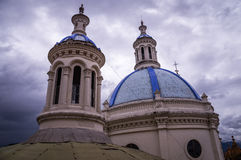 Cathedral towers in Cuenca, Ecuador. Cuenca, Ecuador: The latin american city is famous for its beautiful colonial cathedral Stock Photography