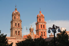 Cathedral towers in San Luis Potosi. Cathedral towers with luminary in San Luis Potosi downtown, Mexico Royalty Free Stock Image
