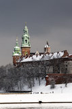Cathedral Towers and Wawel Castle. Wawel Castle, Cathedral towers and Vistula River in Krakow, Poland in a cloudy day in winter Stock Images