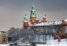 Cathedral Towers and Wawel Castle Stock Photo