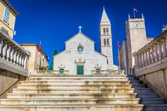 Cathedral in town Supetar, Croatia. Royalty Free Stock Photography