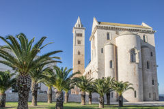 Cathedral of Trani with palm trees in front Stock Photography