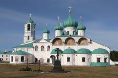 The Cathedral of Transfiguration of the spring morning. St Trinity Alexander-Svirsky monastery, Leningrad region Stock Photos