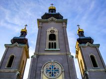 Cathedral of the Transfiguration Markham. The Cathedral of the Transfiguration was a Byzantine Revival cathedral of the Slovak Catholic Eparchy of Saints Cyril Royalty Free Stock Image