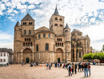 Cathedral of Trier. TRIER, GERMANY - AUGUST 22,2014 - Cathedral of Trier. Trier lies in a valley between low vine-covered hills of red sandstone in the west of Stock Photo