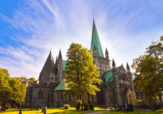 Cathedral in Trondheim Norway. Architecture background Stock Photos