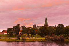 Cathedral in Trondheim Norway at sunset Royalty Free Stock Photography