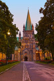 Cathedral in Trondheim Norway at sunset Royalty Free Stock Image