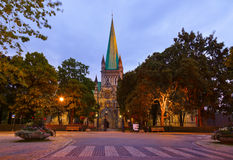 Cathedral in Trondheim Norway at sunset Stock Photos