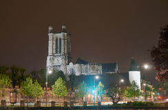 Cathedral  in Troyes at night Royalty Free Stock Images