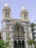 Cathedral in Tunis. Catholic Cathedral of Saint Vincent de Paul in Tunis (Tunisia stock images