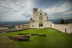 Cathedral in the Tuscany town of Assisi stock photos
