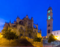 Cathedral in  twilight. Jerez de la Frontera Royalty Free Stock Photos