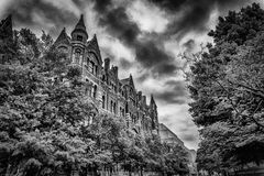 Cathedral Under Stormy Clouds in Black and White HDR Royalty Free Stock Photos