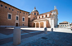 Cathedral of Urbino. The square near the Cathedral of Urbino Royalty Free Stock Images