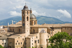 Cathedral of Urbino, Italy. The cathedral and ducal palace of Urbino in the Marche region of Italy Stock Photography