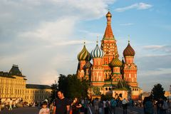 Saint Basil`s Cathedra in Moscow royalty free stock photo