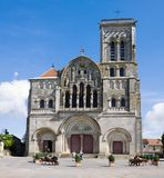 The cathedral of St. Mary Magdalene in Vezelay Abbey in Burgundy, France. The cathedral and the Vezelay hill are enrolled on the UNESCO list of World Heritage stock photography