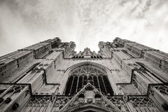 Cathedral view from the ground in black and white Royalty Free Stock Photos