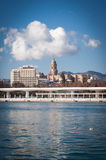 Cathedral view from the port, Malaga Stock Images