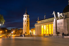 Cathedral of Vilnius, Lithuania at night Royalty Free Stock Photography