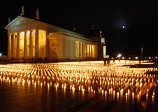 The Cathedral in Vilnius at night. Candles on the Cathedral square symbolize road fatalities in Lithuania year by year Stock Image