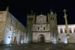 The cathedral of Viseu. Night shot of the 12th century cathedral and pillory, Viseu, Portugal Stock Photography