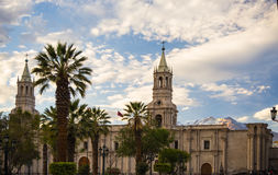 Cathedral and Volcano in Arequipa, Peru Royalty Free Stock Photography
