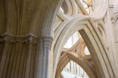 Cathedral of Wells. Beams, columns and arches of the Wells Cathedral in England Royalty Free Stock Photo