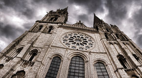 Cathedral Wide View and Dark Dramatic Sky in Storm Stock Images