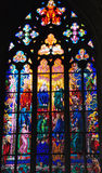 Cathedral window. Gothic glass window in St. Vitius cathedral in Praha Stock Image