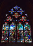 Cathedral window in basilica Saint-Materne Stock Images