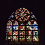 Cathedral window in basilica Saint-Materne with image of Saint Barbara Royalty Free Stock Photography