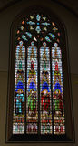 Cathedral window in church Sint-Lieven Royalty Free Stock Photo