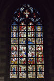 Cathedral window in Collegiate church Saint Waudru. Stock Images